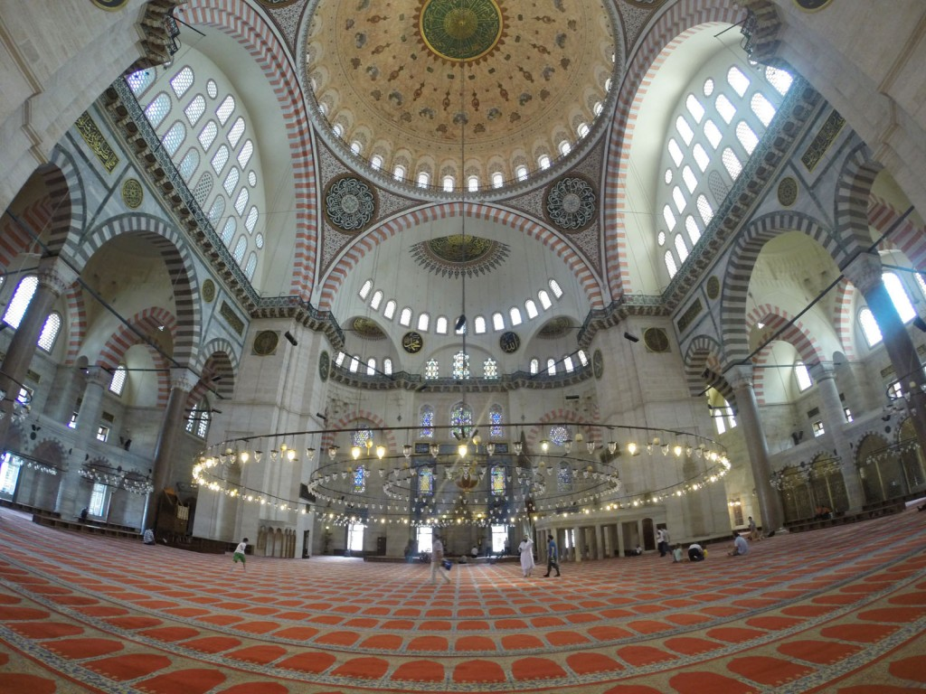 Interior of the Suleymaniye Mosque, Istanbul.